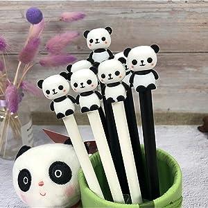 WIN-MARKET Animal Cute Panda Gel Ink Pen Cute Kawaii Black Writing Pens Ballpoint Black Ink Gel Pen Party Gift Gel Ink Pens Funny School Stationery Office Supplies(6PCS)