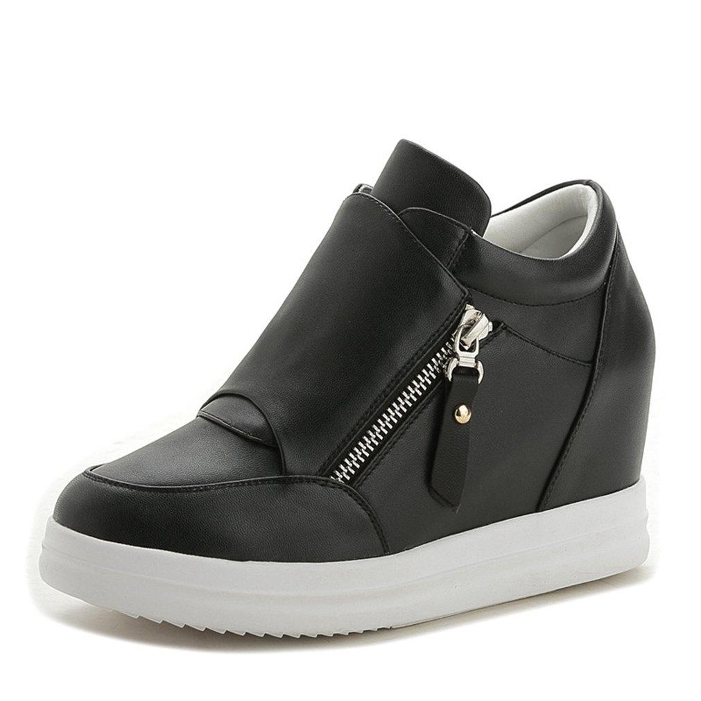 Damen Reißverschluss Sneaker Rundzehen Unsichtbare Erhöhung Kunstleder Flach Reißverschluss Damen Abriebfest Sport Schick Schuhe 14a2a6