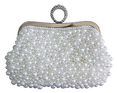 e05b938a3944f Elegante Damen Clutch Abendtasche Princess - Weiß - Handtasche für Hochzeit  Theater und Abendkleid