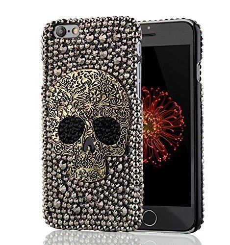 New Handmade Diamond Metal saphire eye Cool 3D Skull Skeleton Bling back Cover DIY Rhinestone phone case for iphone5/5s (iphone5/5s SILVER)