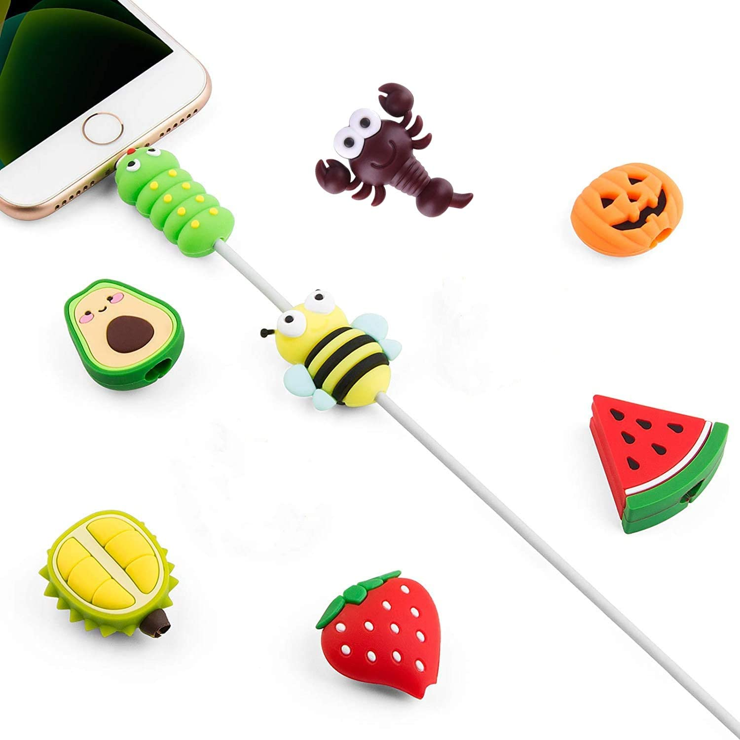 Cute Cable Protector for iPhone iPad Charger, 8 Pack Animal USB Cable Protector, Charging Cord Protector, Cable Chomper, Cable Saver Phone Accessory