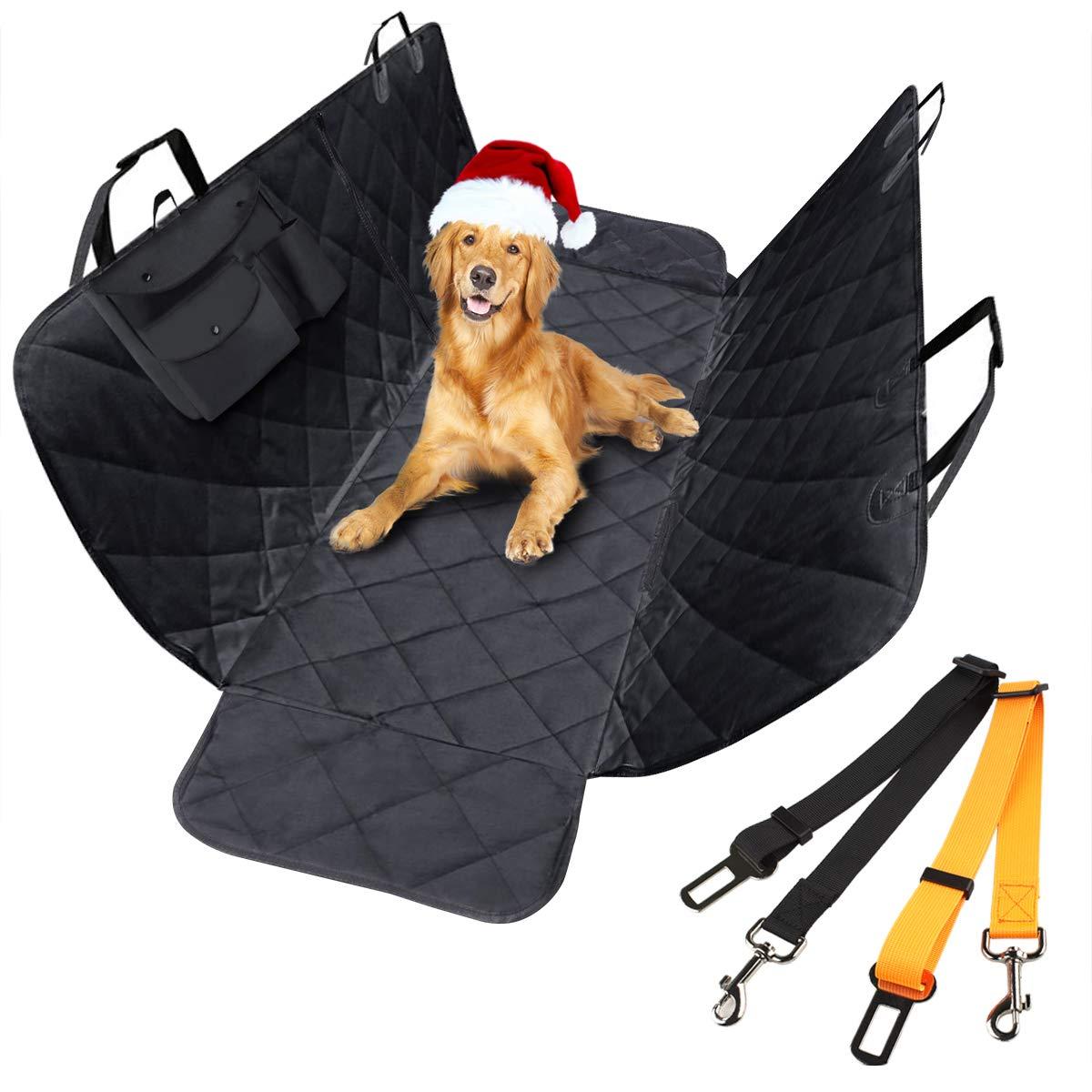 morpilot Funda Coche Perro, Cubierta Asiento Coche Perro Trasero Universal de Mascotas con 2 Cinturones