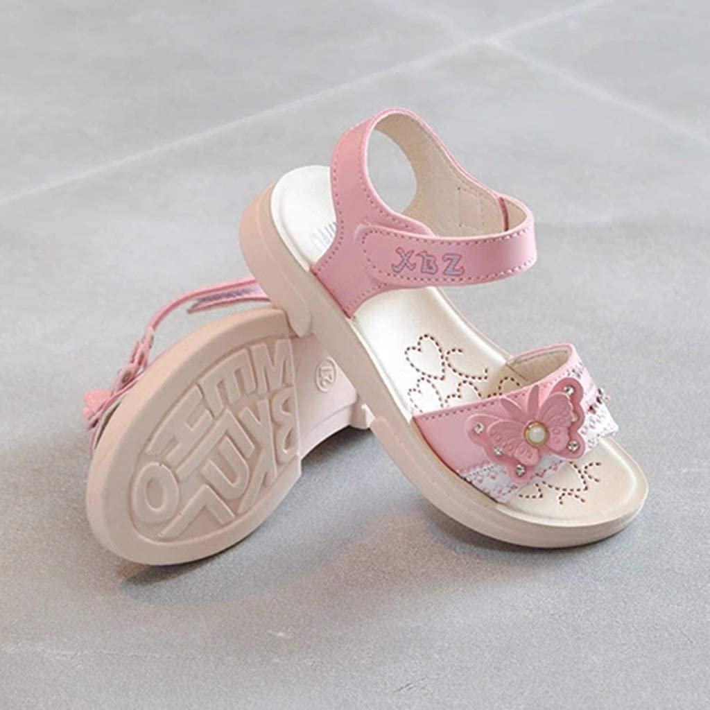 ❤️Rolayllove❤️ Infant Baby Girls Butterfly Crystal Pearl Beach Sandals Princess Shoes Summer