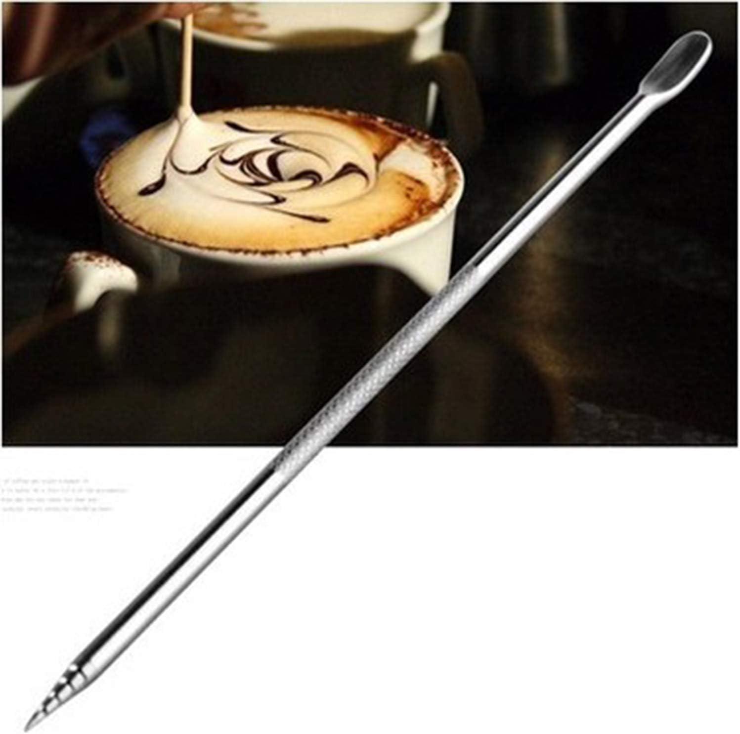 alfiler de flor de capuchino Aguja de palo tallada de caf/é de acero inoxidable aguja de dibujo elegante DIY bol/ígrafo art/ístico de caf/é de ganchillo
