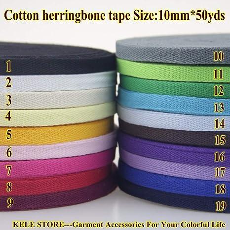 Ochoos – Cinta de algodón 100% espina de arena/sarga cinta de algodón tamaño 10 mm 50 yardas, 1 cm 45 metros, material de costura accesorios de ropa: Amazon.es: Juguetes y juegos