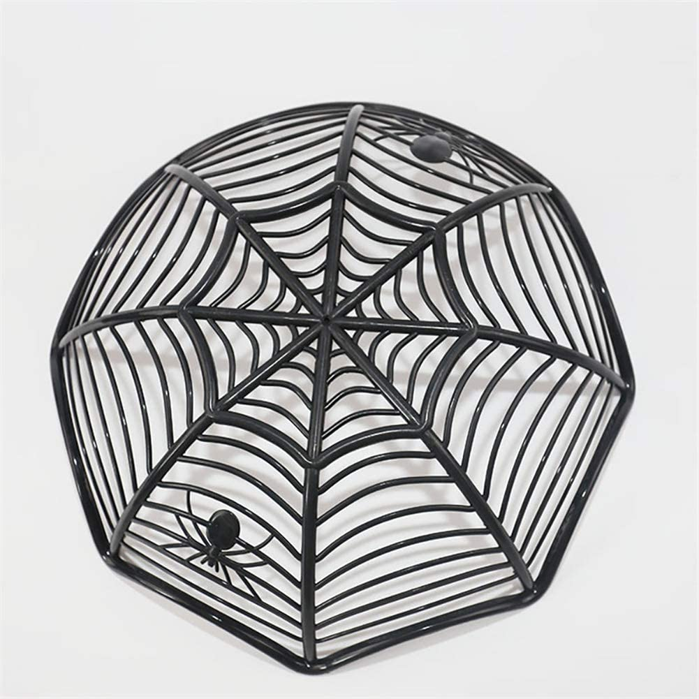 Black Yisily 1 Pc Halloween Candy Bowl Plastic Spider Web Basket basin Spider Web Fruit Candy Plate Halloween party Supplies Spider Web Candy bowl for Halloween Parties Decoration