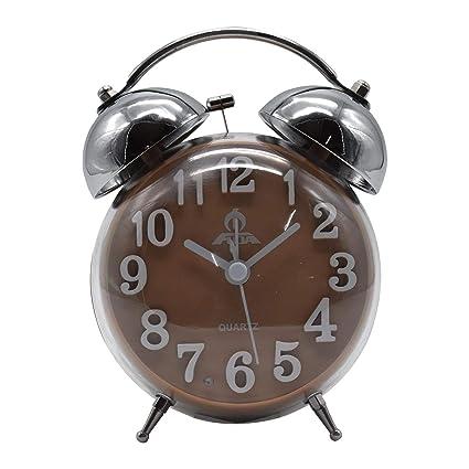Twin Bell Alarm Clock, Round - Light Brown