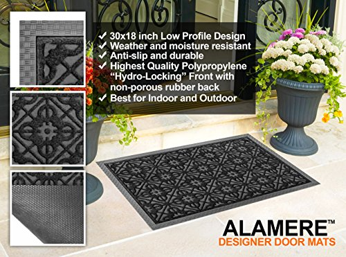 Amazon.com : Front Door Mat Large Outdoor Indoor Entrance Doormat BY ABI  Home   Charcoal Black Polypropylene Waterproof Low Profile Door Mats  Stylish ...