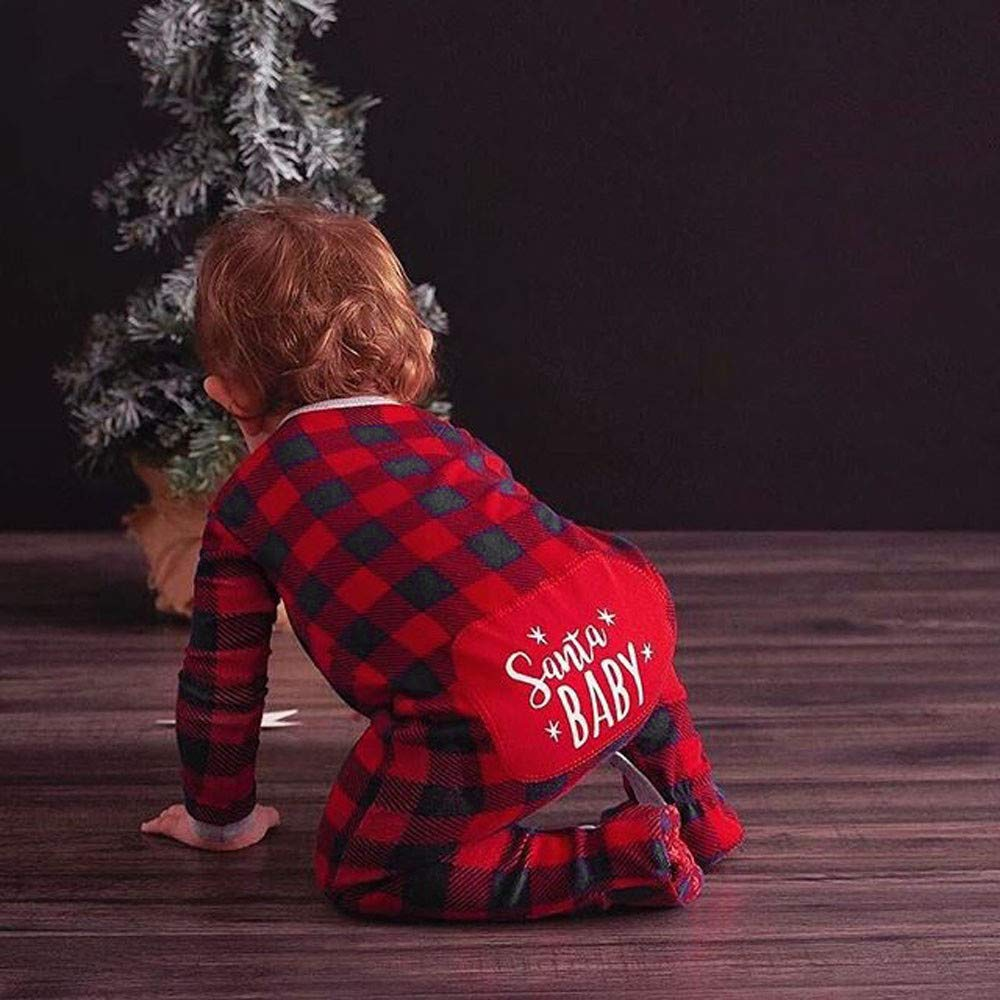 Red, 0-6Months Sikye Newborn Infant Baby Boy Girl Romper Christmas Letter Plaid One Piece Jumpsuit Outfits