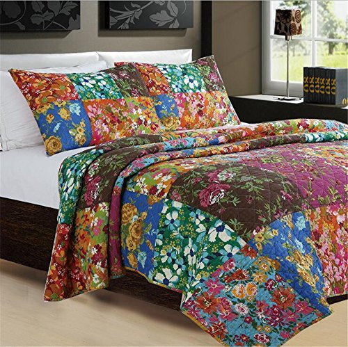 Newrara Boho Bedding Collection Bohemian Real Patchwork Cotton Dark Elegance Floral Quilt/Sham Bedspread Set Queen Size 3 Pieces (Multi 5)