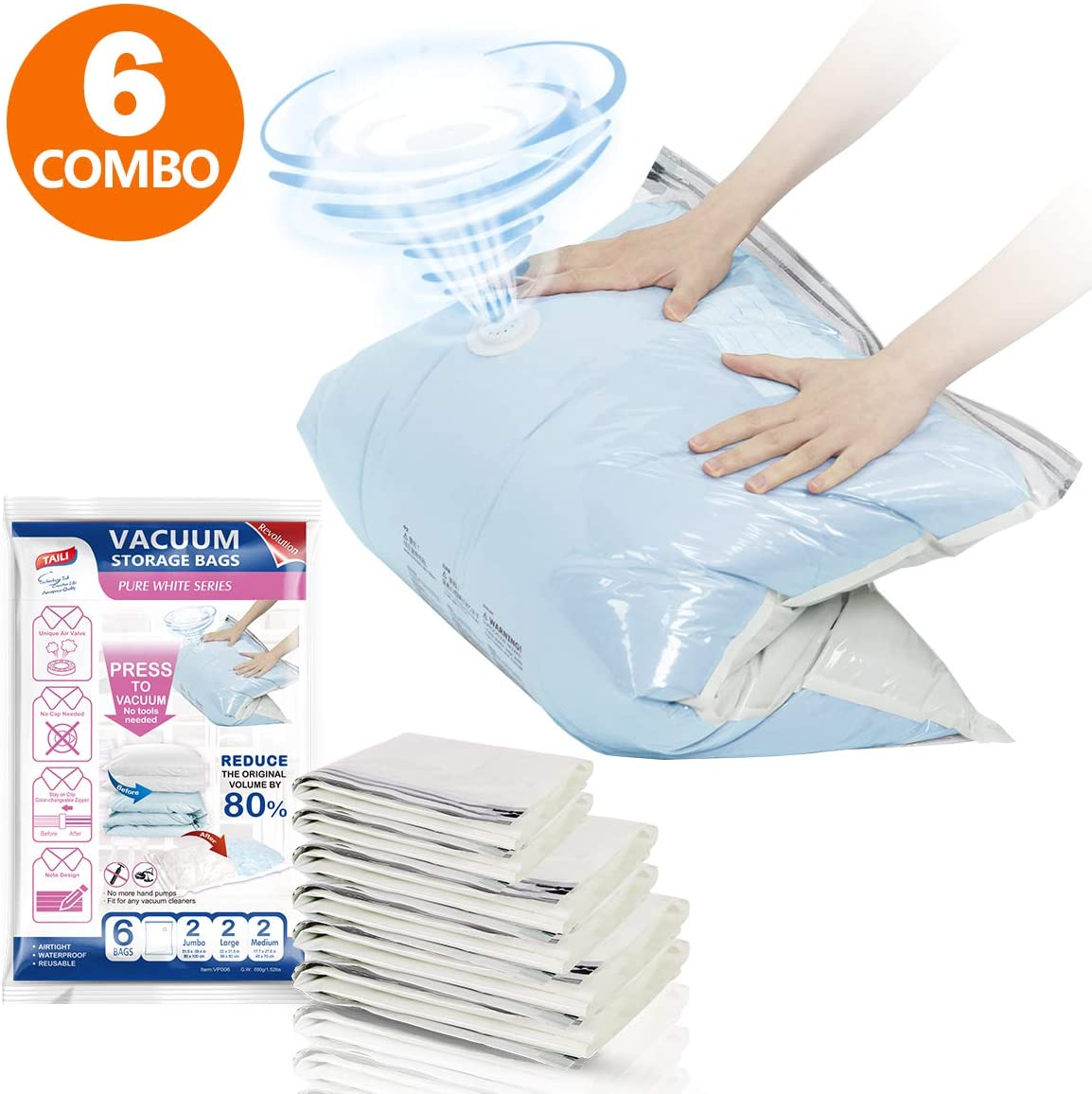 Vacuum Storage Bags (2X Jumbo, 2X Large, 2X Medium) No Pumps Needed, Space Saver Bags Set of 6 Packs for Travel, Organizer for Clothes, Comforters, Bedding, Blanket, Air-Tight and Water-Tight