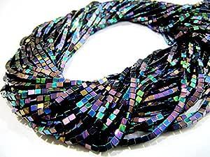 AAA Calidad Perlas De Pavo Real Azul Color hematita cubo/Rainbow Mystic caja forma perlas de hematita/2mm Tamaño/strand 15-16pulgadas,/al por mayor