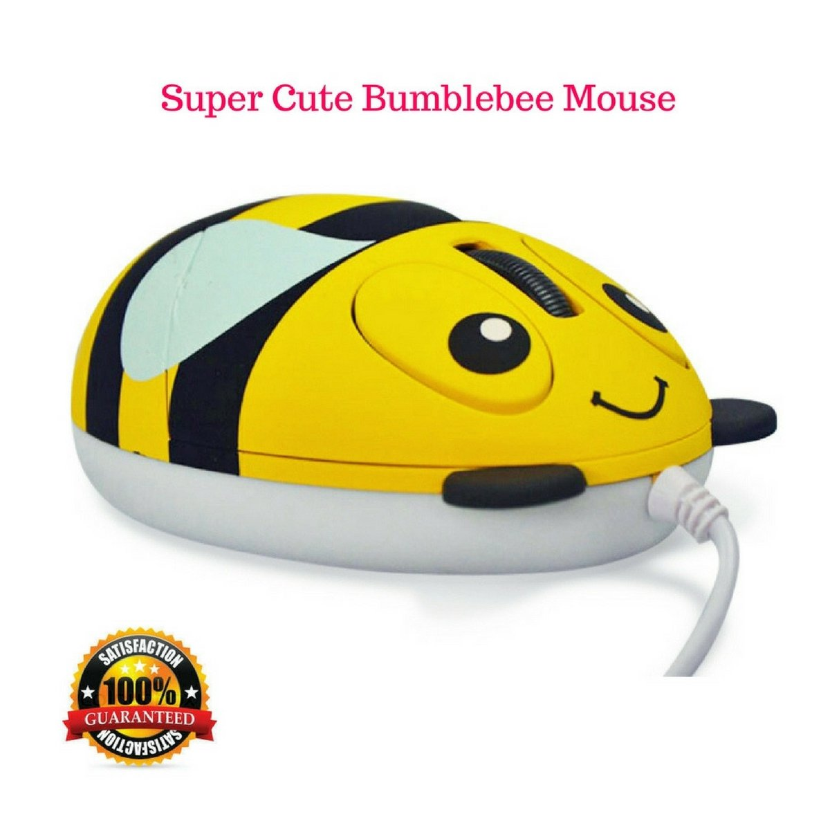 Kids Wired Mouse for Computer, Laptop, PC – Small Mini Optical Mice - Cute Bumblebee with Ergonomic Design for Children's Small Hands