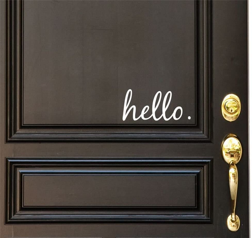 Hello Vinyl Door Decal Hello Front Door Decals Hello Home Office Decor Custom Vinyl Decal Hello Vinyl Hello Decal Front Door Greet Hello Door Decals Hello Stickers Hello Decal Door Decor