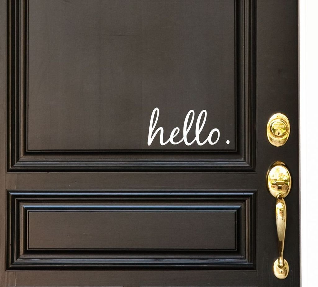 Hello Vinyl Door Decal   Hello Front Door Decals, Hello Home Office Decor,  Custom Vinyl Decal, Hello Vinyl Hello Decal, Front Door Greet, Hello Door  Decals, ...