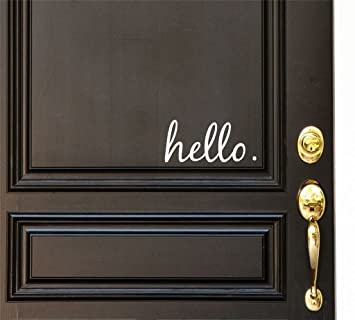 Hello Vinyl Door Decal   Hello Front Door Decals, Hello Home Office Decor,  Custom