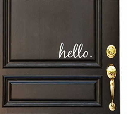 Hello vinyl door decal hello front door decals hello home office decor custom