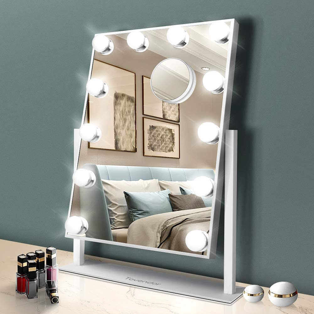 Tovendor Hollywood Mirror with Lights, 20 Inch Lighted Makeup Vanity Mirror with 12PCS Dimmable Bulbs, Women's Cosmetic Mirror with 3 Color Lighting Modes, 360° Rotation