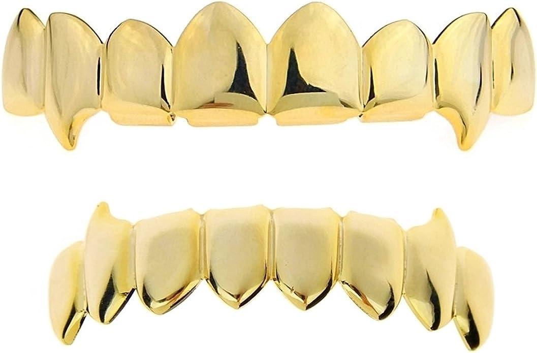 Vampire Half Grillz Fang Slim 14k Rose Gold Plated Bottom Lower Row Slugs Teeth Hip Hop Grills