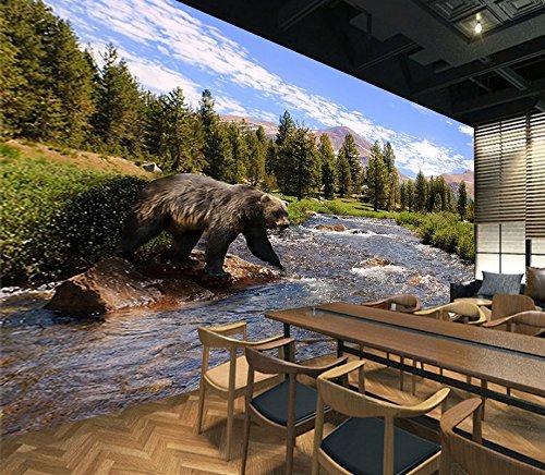 Black Bear Wallpaper (3D Black Bear Forest River 6055 Wall Paper Wall Print Decal Wall Deco Indoor wall Murals Removable Wall Mural | Self-adhesive Large Wallpaper , AJ WALLPAPER Carly (123