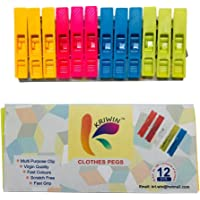 KRIWIN® Cloth Clips Multi Color Clothes Pegs for Drying