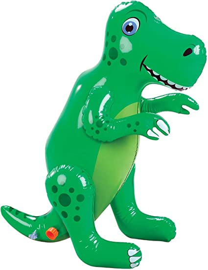 Etna Inflatable Dinosaur Sprinkler, Fun Outdoor T-Rex Water Toy and Lawn Accent