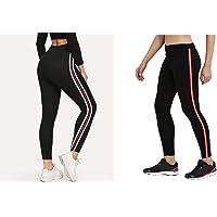 HELISHA Gym wear Leggings | | High Waist Sports Fitness Yoga Track Pants for Girls & Women (Black)(Pack of 2) FREE-SIZE(26-32 WAIST)