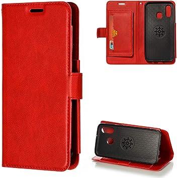 MUSESHOP para Samsung Galaxy A40 Funda Libro, Color Sólido 2 en 1 Separable Carcasa de Cuero Flip Case, Carcasa PU Leather con TPU Silicona Case Interna Suave Cierre Magnético, Rojo: Amazon.es: Electrónica