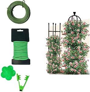 VIMOA Plant Trellis Rose Trellis 2 Pack+Garden Twist Tie 5mm+Garden Twist Tie 2mm+Rose Thorn Stripper
