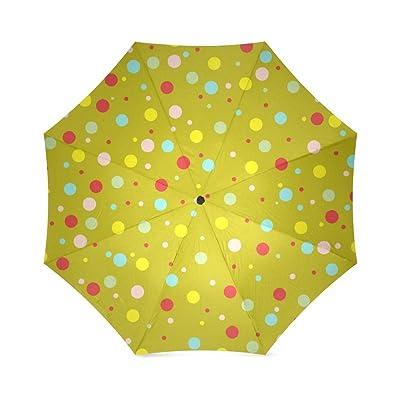 Custom Polka dots multi colored Compact Travel Windproof Rainproof Foldable Umbrella free shipping