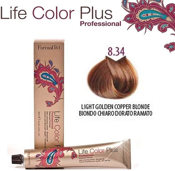 Farmavita Life Color Plus, Tinte 8.34 Rubio Claro Dorado Cobre - 60 ml