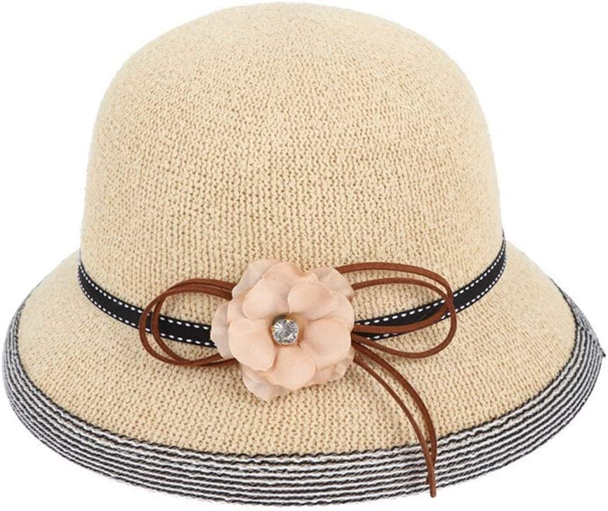 帽子夏の新しいラインガーゼハット 麦わら帽子を外に日よけ帽子 きれいな帽子 (Color : White, Size : M56-58cm)