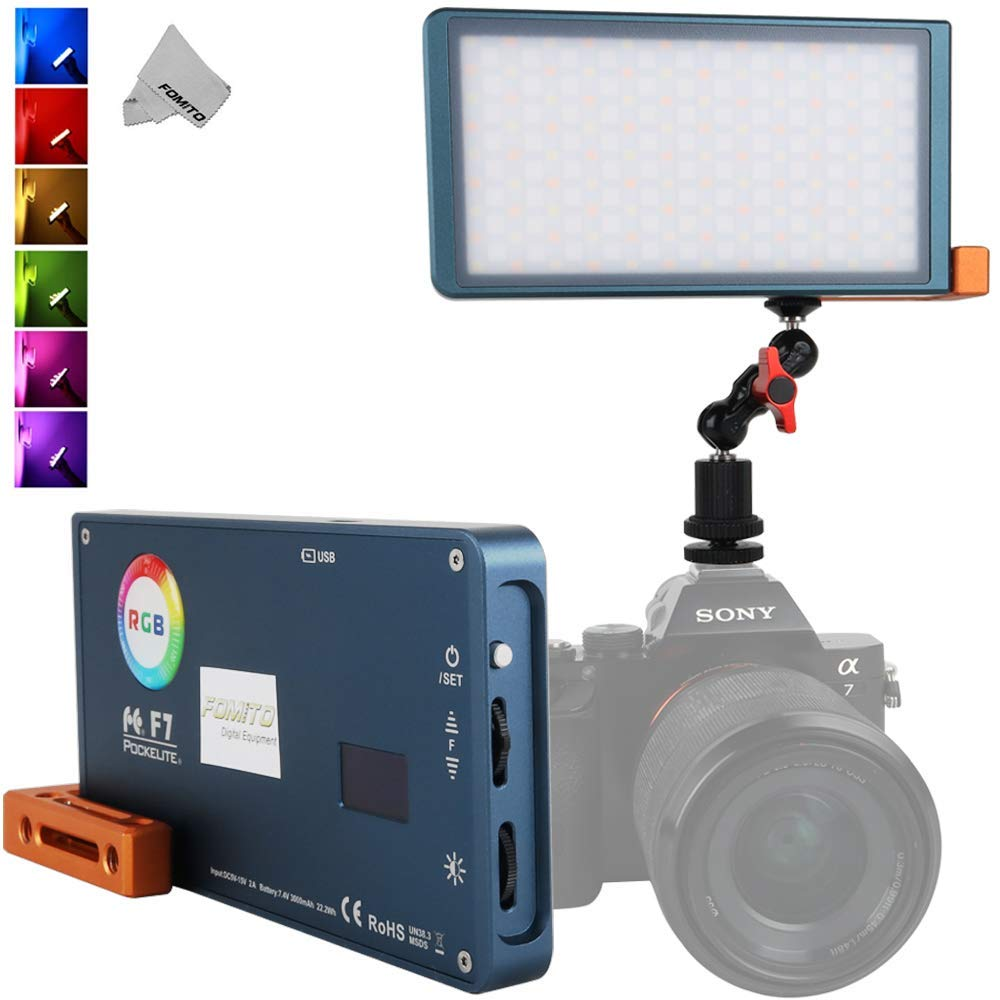 Falcon Eyes F7 RGB Led Pocket Fill Light, CRI: 97, 2500K-9000K Adjustable, 0-100% Stepless Dimming, OLED Display, Multiple Scenario Mode, Built-in Battery for Vlog, YouTube, Live Video, Film Maker by FOMITO