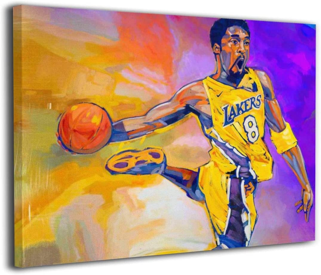 LA basketball player Kobe-Bryant yellow purple Abstract Modern Wall Decor Canvas Art paintings Framed Prints Pictures Home Decoration in the Living Room Bedroom gameroom ready to hang - 16x20 in
