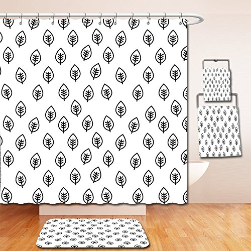 Nalahome Bath Suit: Showercurtain Bathrug Bathtowel Handtowel Foliage Minimalist Leaf Pattern Spring Nature Eco Rural Inspired Simplistic Art Design Black and White