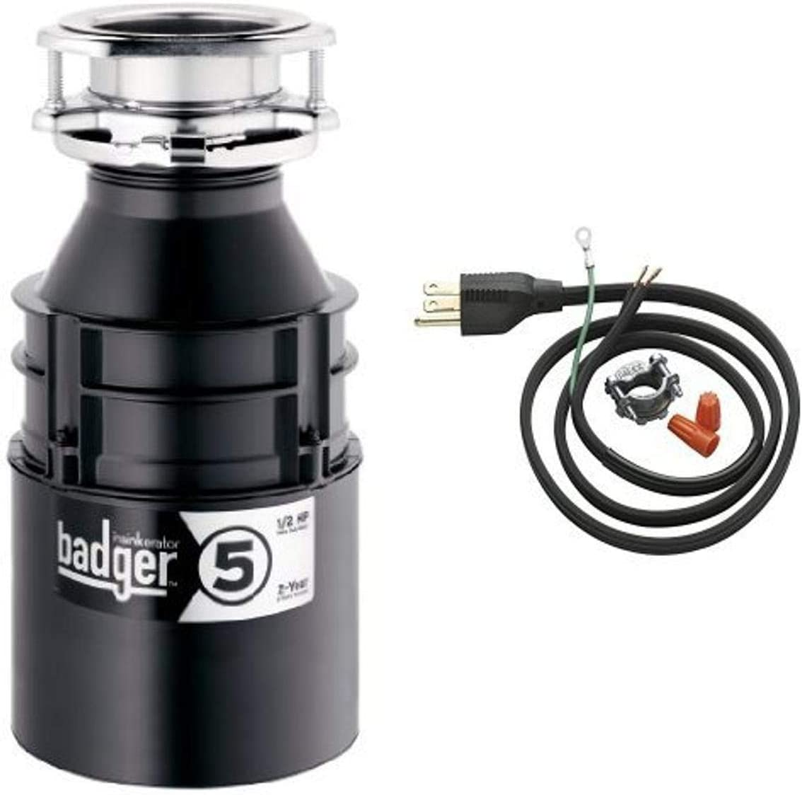 InSinkErator Badger 5 1 2 HP Food Waste Disposer and Power Cord Kit