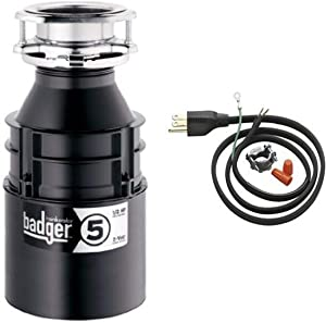 InSinkErator Badger 5 1/2 HP Food Waste Disposer and Power Cord Kit