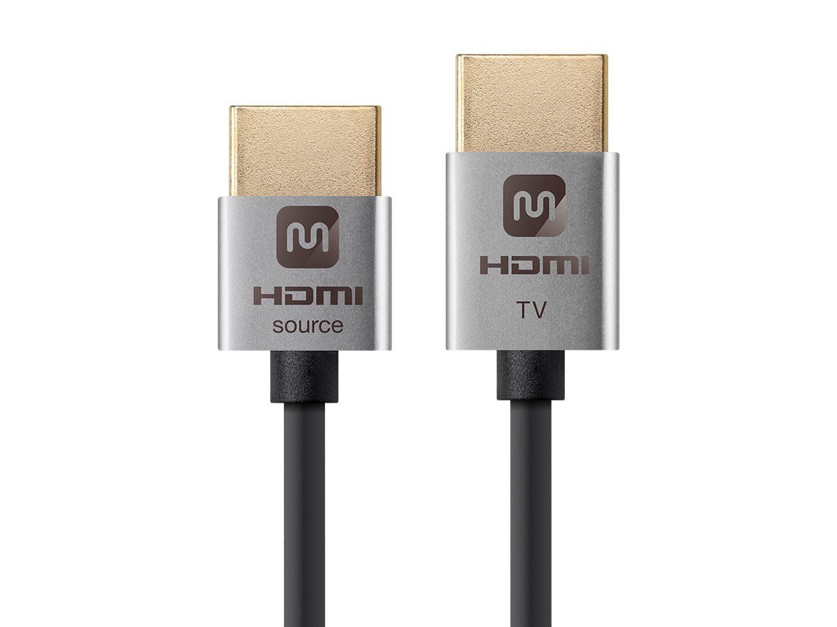 Monoprice 114197 Ultra Slim Series Active High Speed HDMI Cable, 4K @ 60Hz, 18Gbps, 36AWG, YUV 4:2:0, 15ft, Silver