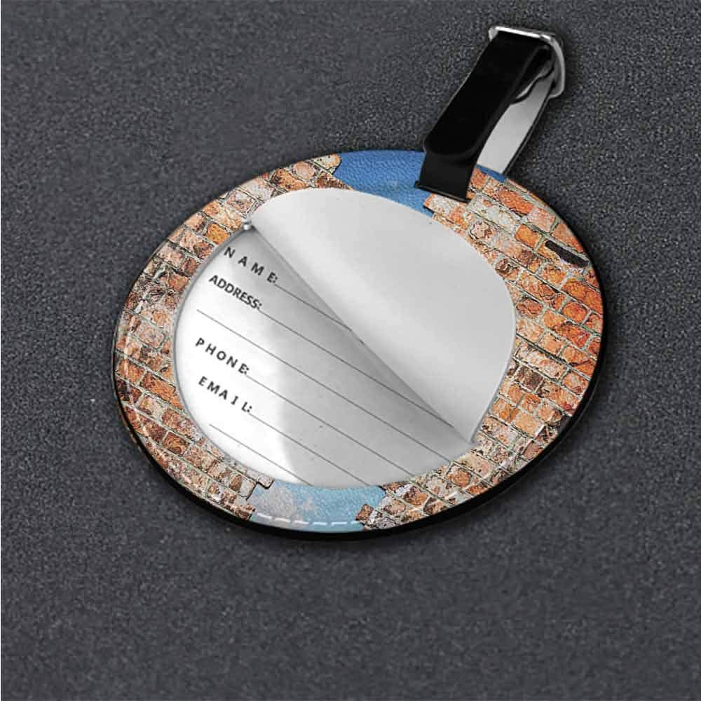 Boarding Tags Brick Wall,Warm Toned Architecture Label Tag Address Holder