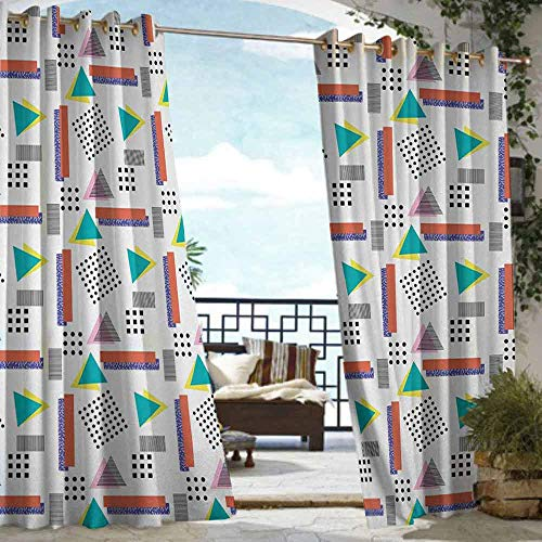 S Brave Sky 90s Outdoor Curtain Waterproof Memphis Style Geometrical Illustration with Dots Barcode Triangle Shapes Retro Art Outdoor Curtain for Patio Furniture Coral Black (Furniture Memphis Patio)