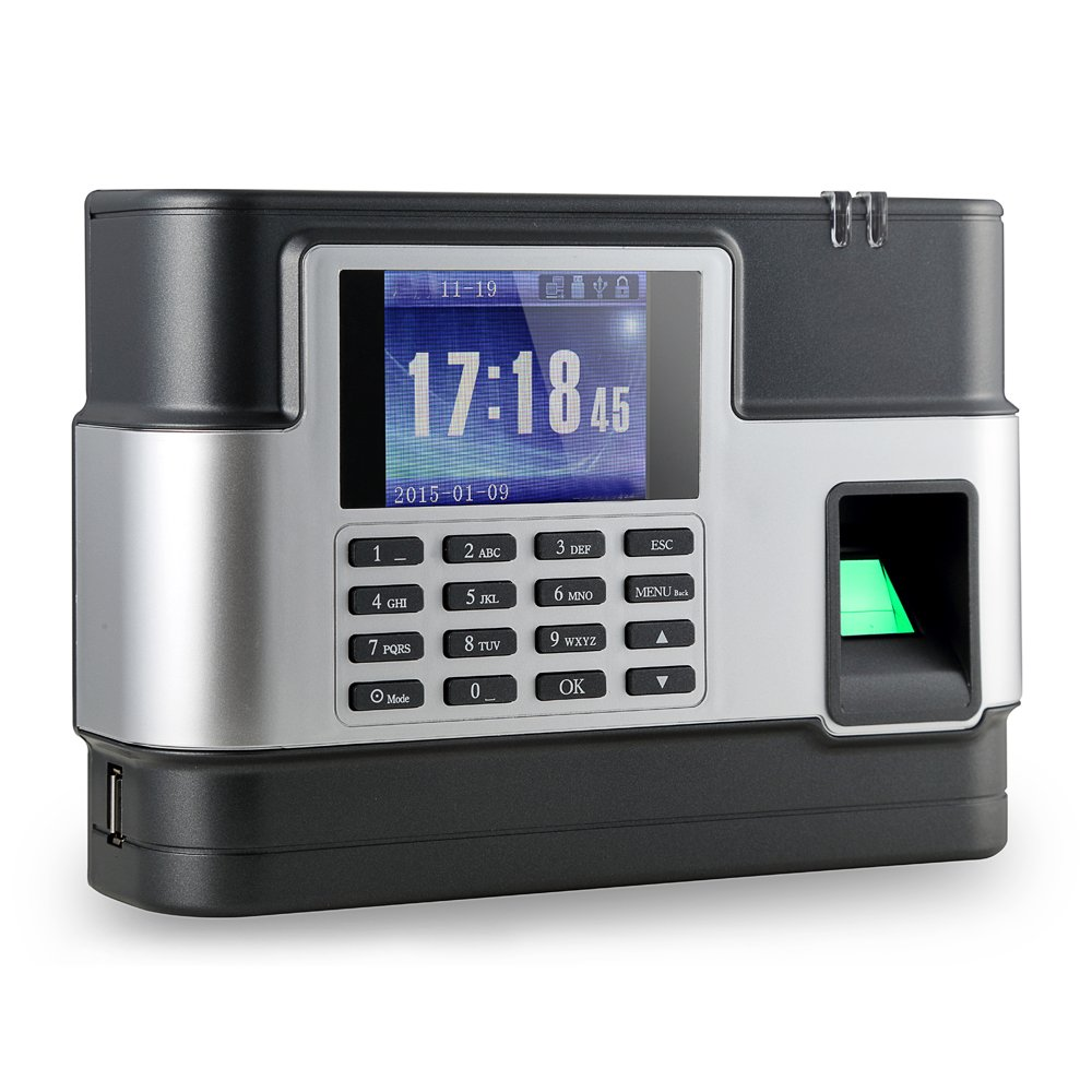 Aibecy Biometric Fingerprint Password Attendance Machine Employee Checking-in Recorder TCP/IP 2.8 inch LCD Screen DC 5V Time Attendance Clock