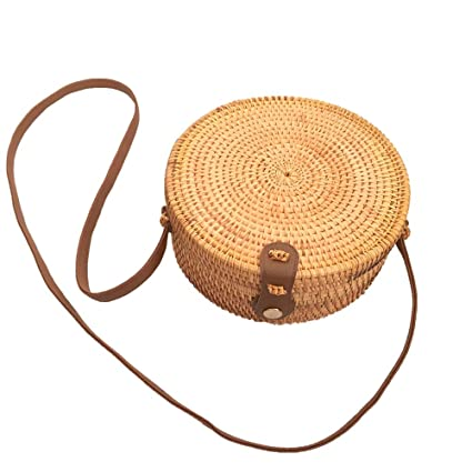 15841785db00 Amazon.com : MKHDD Bohemian Bali Rattan Bags for Women Small Circle ...