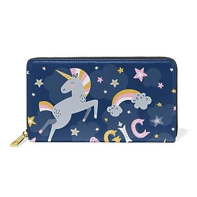7303d2285bfc Women Wallet Purse Starry Night Magic Unicorn Clutch Bag Zipper ...