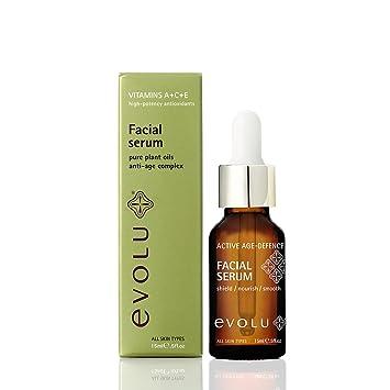 Evolu - Activo Años Defensa Suero Facial - Suero de vitamina C; Antiedad, Antiarrugas, Hidratante, brillo de piel - Contiene aceite de rosa mosqueta - 15ml: ...