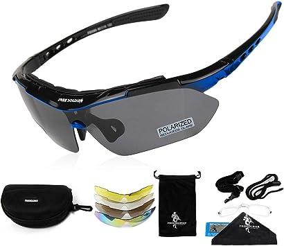 FREE SOLDIER Gafas Ciclismo Hombre Gafas tácticas Militares Gafas Motocross anti-UV400 Gafas de Sol polarizadas 5 en 1 para MTB Airsoft Correr, Pescar, Conducir, Deportes al Aire Libre(Azul): Amazon.es: Deportes y aire