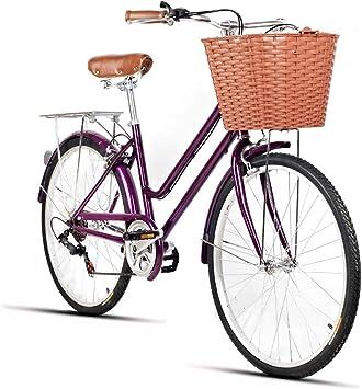 Bicicleta De Ciudad para Mujer, Bicicleta De Ocio De 7 Velocidades Bicicleta De Ciudad Ligera para Adultos De 26 Pulgadas con Cesta Bicicleta De Mujer De Viaje: Amazon.es: Deportes y aire libre