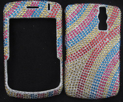 FULL DIAMOND CRYSTAL STONES COVER CASE FOR BLACKBERRY CURVE 8300 8320 8330 ZEBRA RAINBOW