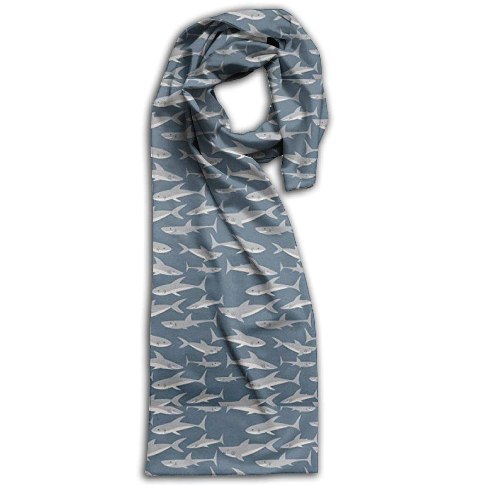 Womens Mens Fall Winter Fashion Scarf Long Shawl Cotton Scarves Print Scarves Cute Shark Print Winter Warm Soft Chunky Large Blanket Wrap Shawl Scarf