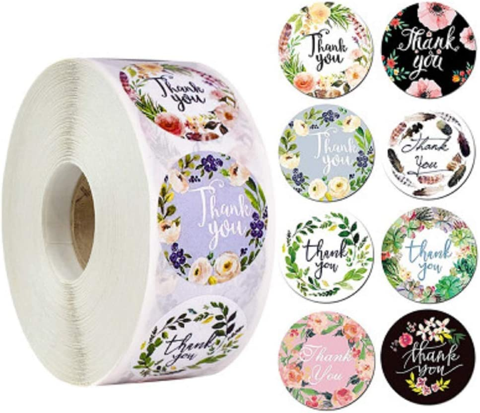 2 Roll Thank You Stickers, 8 Designs, Thank You Sticker Roll Boutique Supplies for Business Packaging | 500 Labels Per Roll for Bubble Mailers & Bags