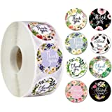 2 Roll Thank You Stickers, 8 Designs, Thank You Sticker Roll Boutique Supplies for Business Packaging | 500 Labels Per Roll f